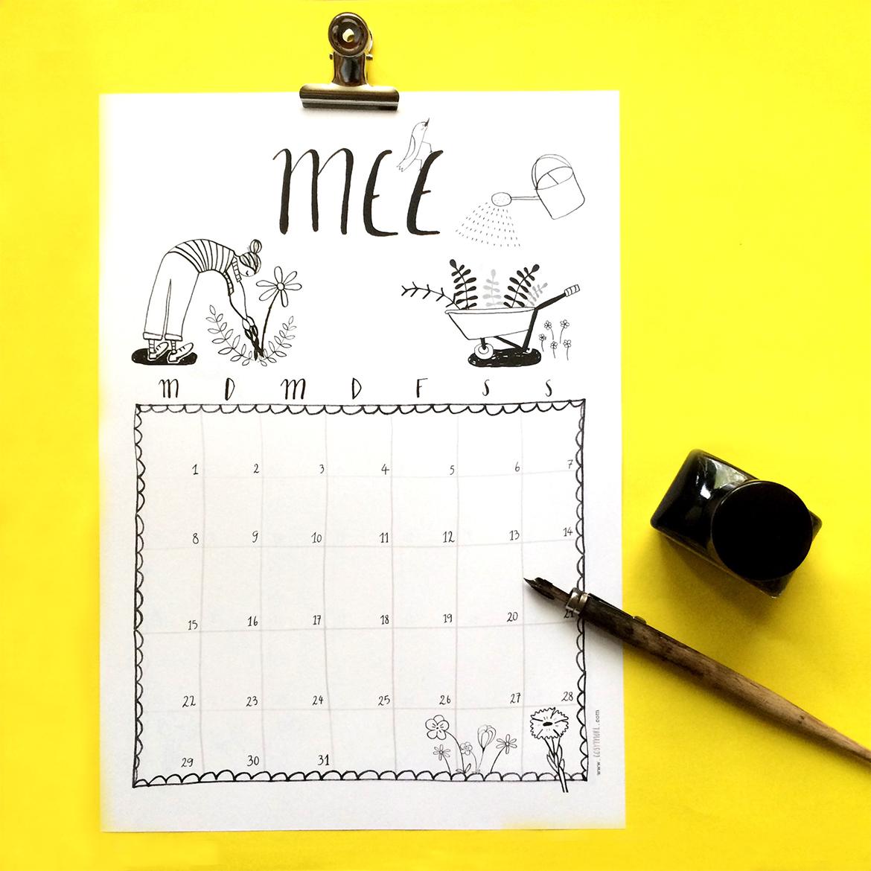 free printable calendar sheet